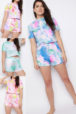 Tie Dye Crop Top & Shorts Co-ord Set