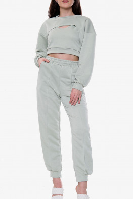 Cut Out Detail Top and Jogger 3 Piece Lounge Set