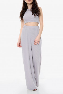 Ribbed Crop Top and Wide Leg Trouser Lounge Set
