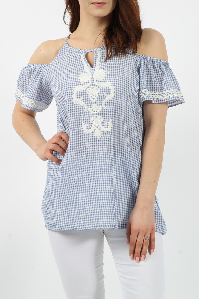 Gingham Embroidered Top