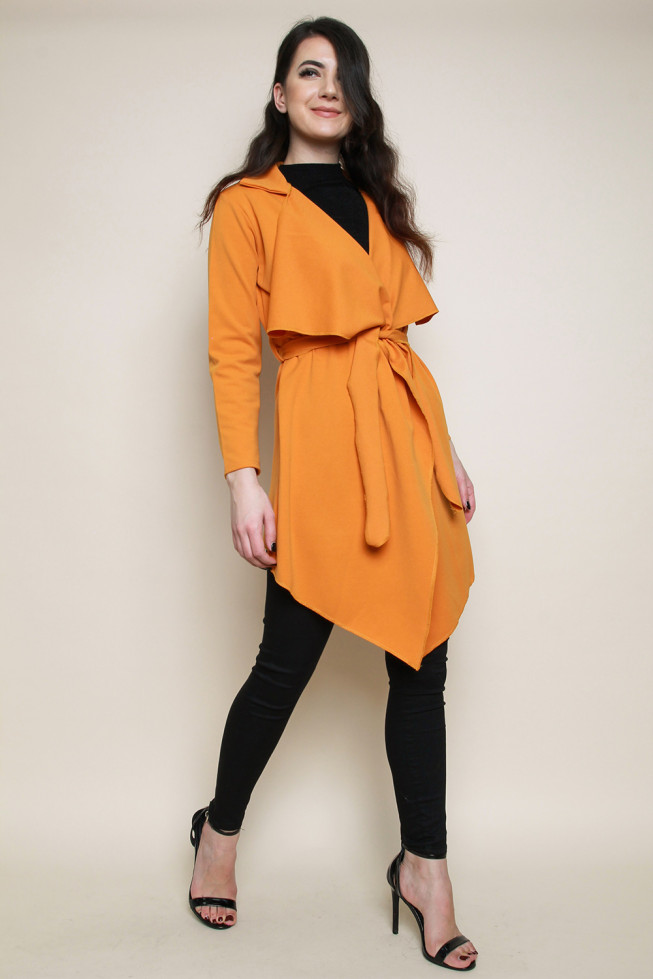 Belted Waterfall Collar Coat