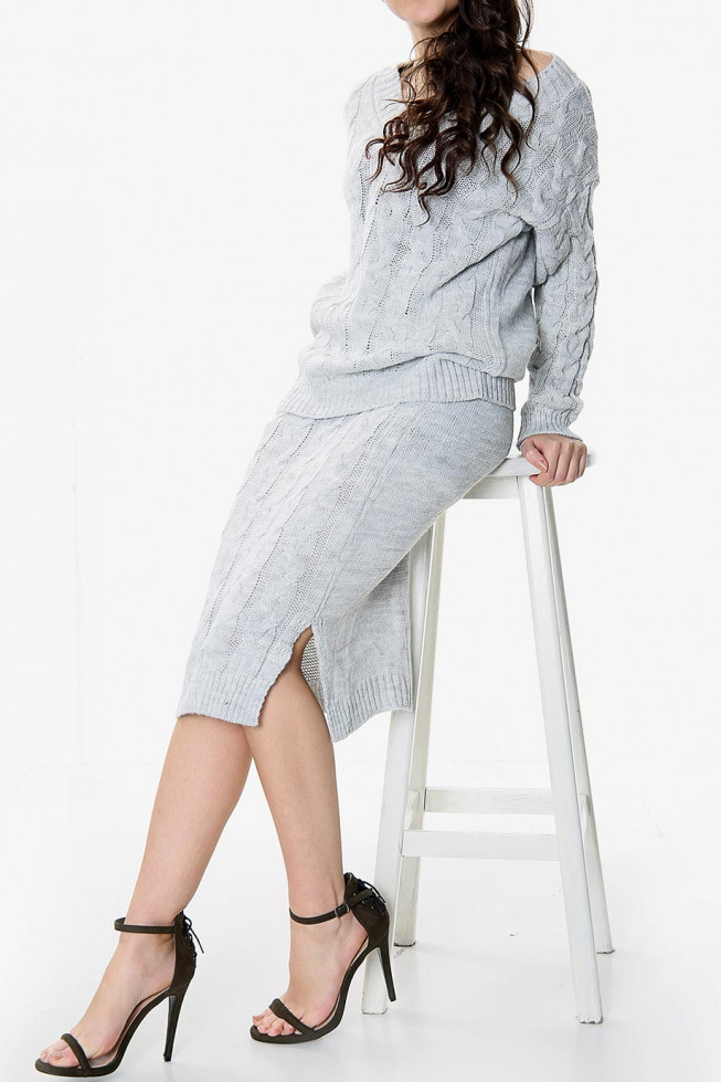Knitted Jumper and Midi Skirt Co-ord Set