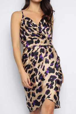Leopard Satin Wrap Cami Dress