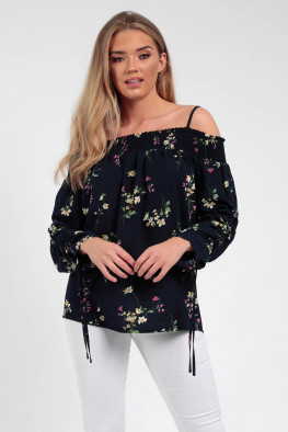 Ruched Bardot Floral Long Sleeve Top