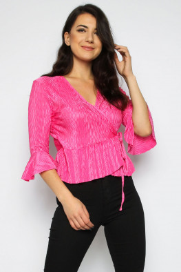 Frill Pleated Wrap Top