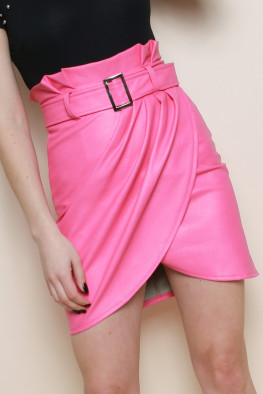 Faux Leather Wrap Pleated Skirt