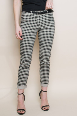 Check Roll Up Trousers with Belt