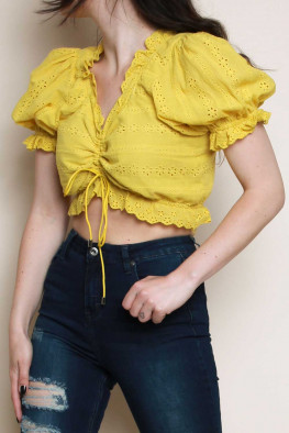 Broderie Ruched Detail Puff Sleeve Crop Top