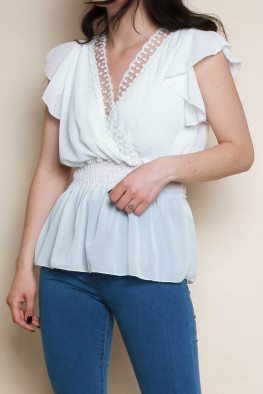 Lace Detail Frill Sleeves Wrap Shirred Top