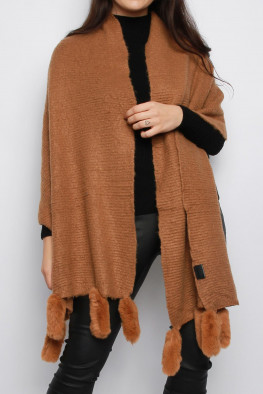 Knitted Poncho Shawl with Faux Fur Trim