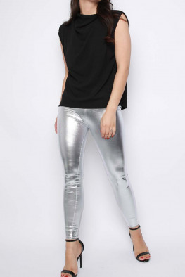 PU Wet Look Metallic Leggings