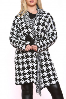 Knitted Houndstooth Belted Cardigan