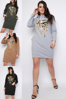 Lips Print Hoodie Dress