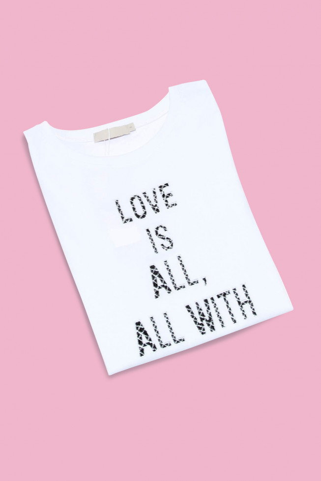 Love is All Sequin Slogan T-shirt