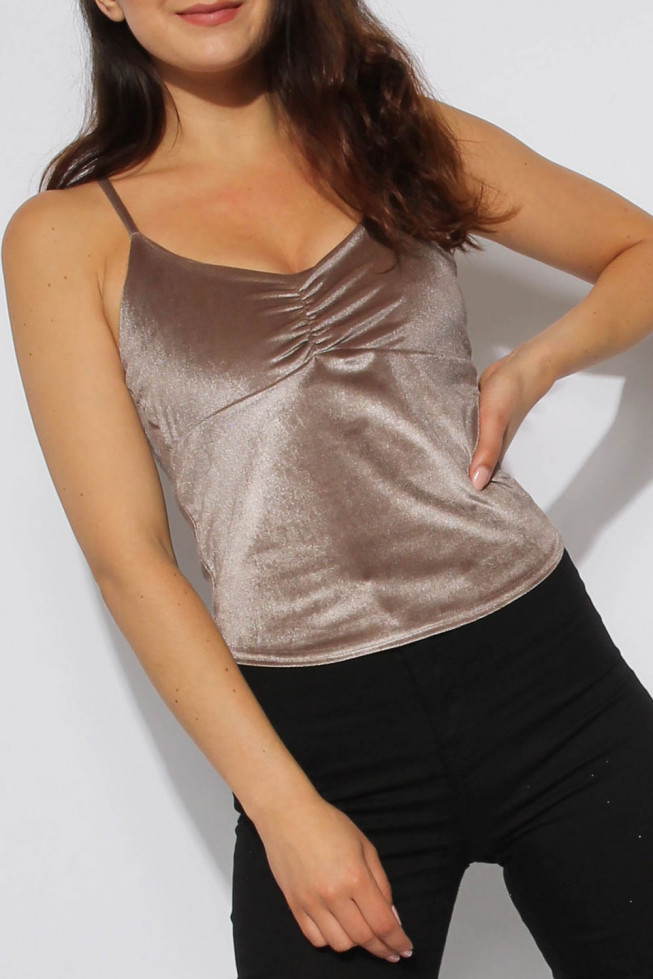 Ruched Velour Cami Top