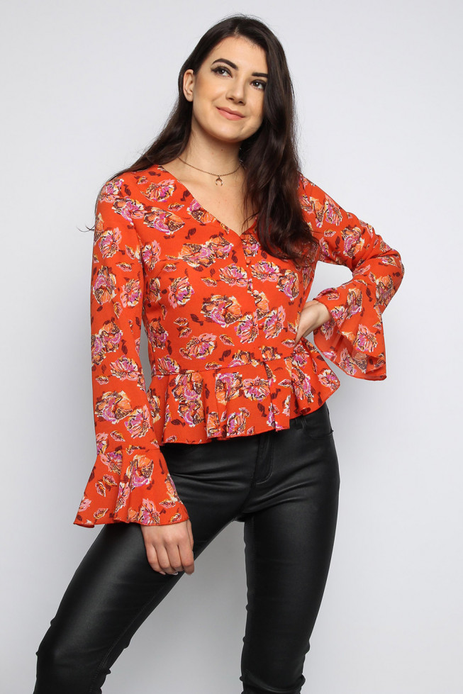 Button Down Frill Floral Top