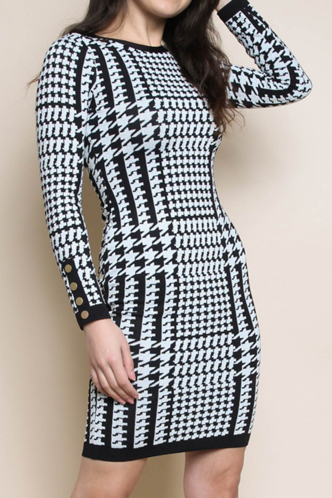 Houndstooth Bodycon Knitted Dress