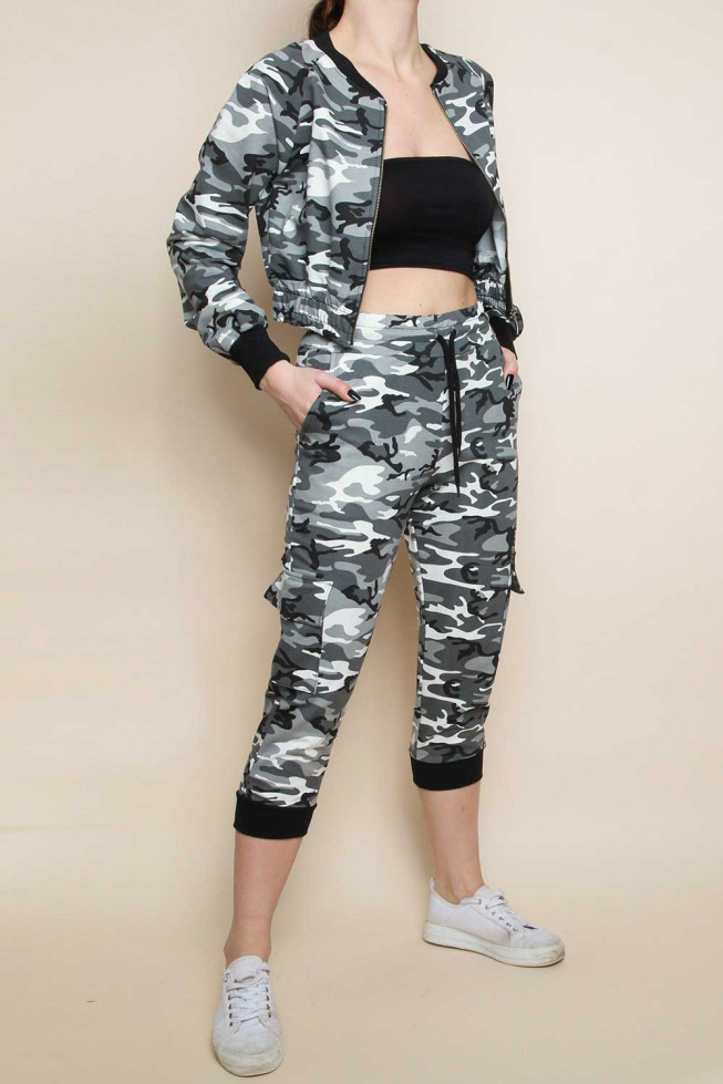Camo Cropped Jacket and Cargo Trouser Set