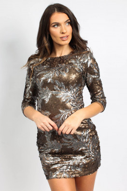Sequin Leaf Bodycon Dress