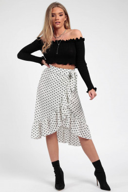 Polka Dot Frill Wrap Midi Skirt