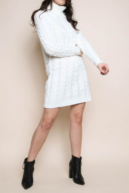 Cowl Neck Cable Knitted Jumper Dress
