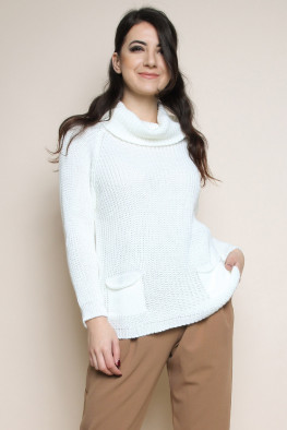 Cowl Neck Front Pockets Knitted Jumper