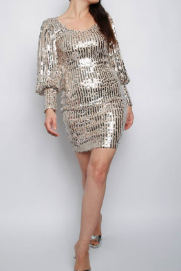 Balloon Sleeve Sequin Bodycon Dress