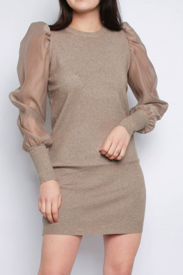 Organza Balloon Sleeves Knitted Jumper Dress
