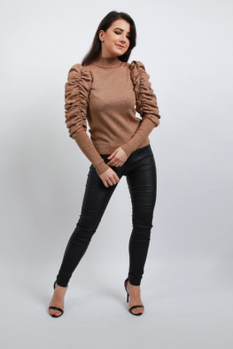 Ruched Balloon Sleeves Metallic Knitted Jumper