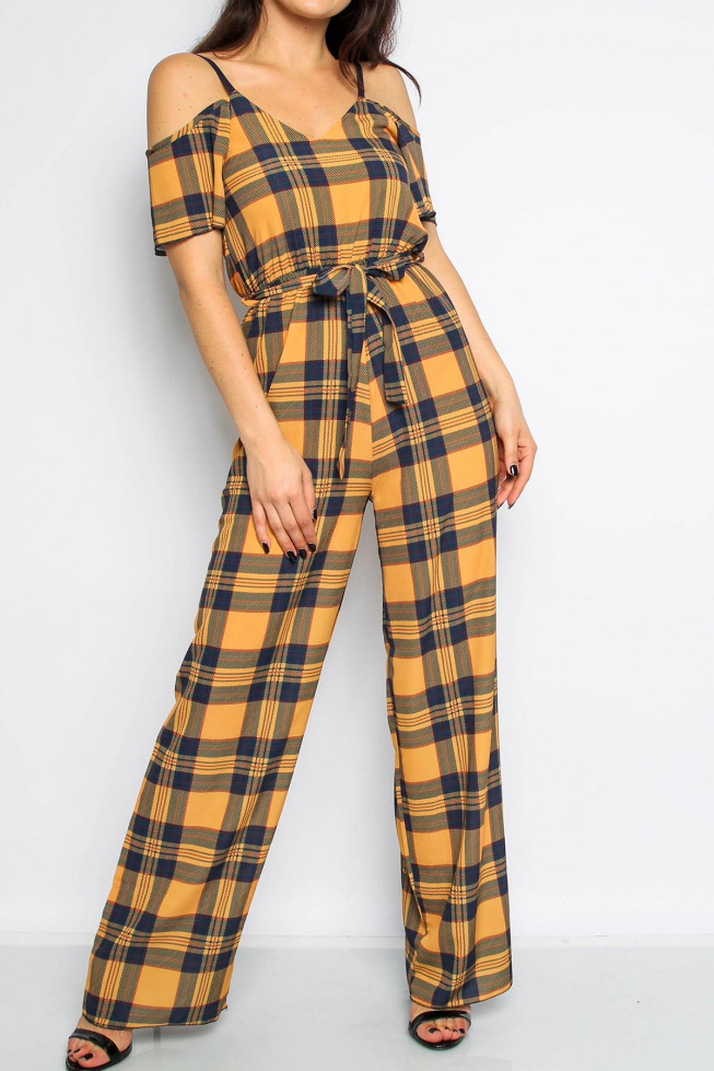 Cami Check Wide Leg Jumpsuit