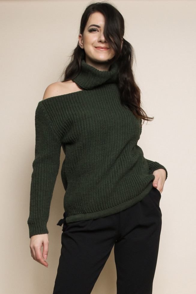 Roll Neck Cut Out Knitted Jumper
