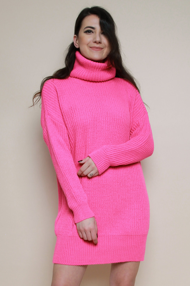 Neon Cowl Neck Knitted Jumper Dress