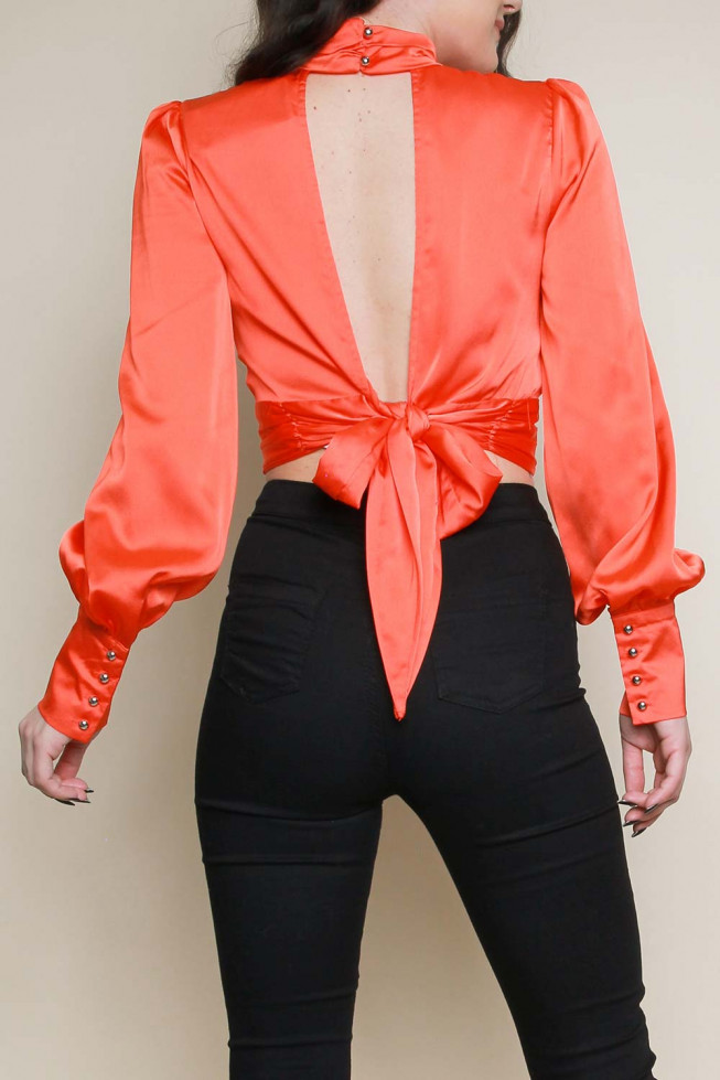 Satin Bell Sleeves Tie Back Top