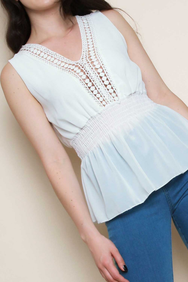 Crochet Detail Sleeveless Shirred Top