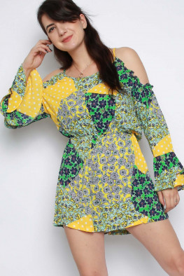 Patch Print Floral Cold Shoulder Playsuit
