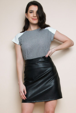 Gingham Panelled Top