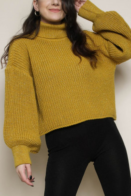 Lurex Roll Neck Balloon Sleeve Knitted Jumper