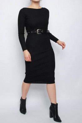Belted Ribbed Knitted Midi Dress