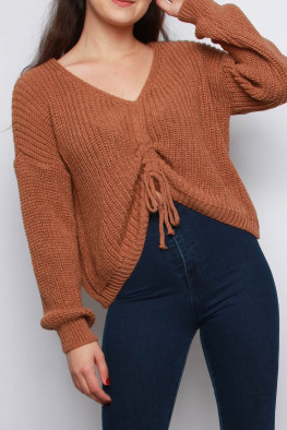 Ruched Detail Knitted Jumper