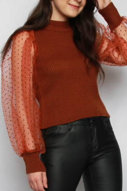 Organza Balloon Sleeves Knitted Jumper