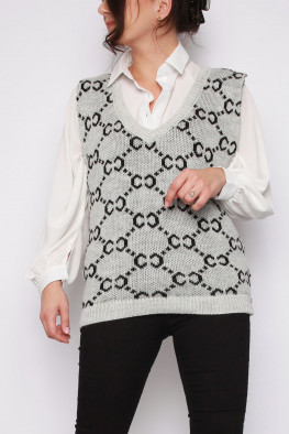 C Knit V-neck Sweater Knitted Vest