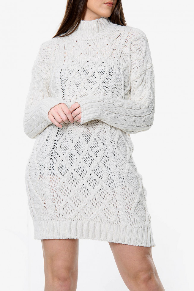 Cable High Neck Knitted Jumper Dress