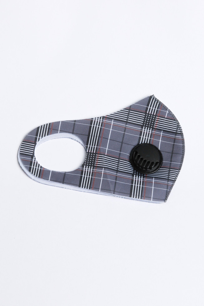 Check Print Woven Face Mask With Valve