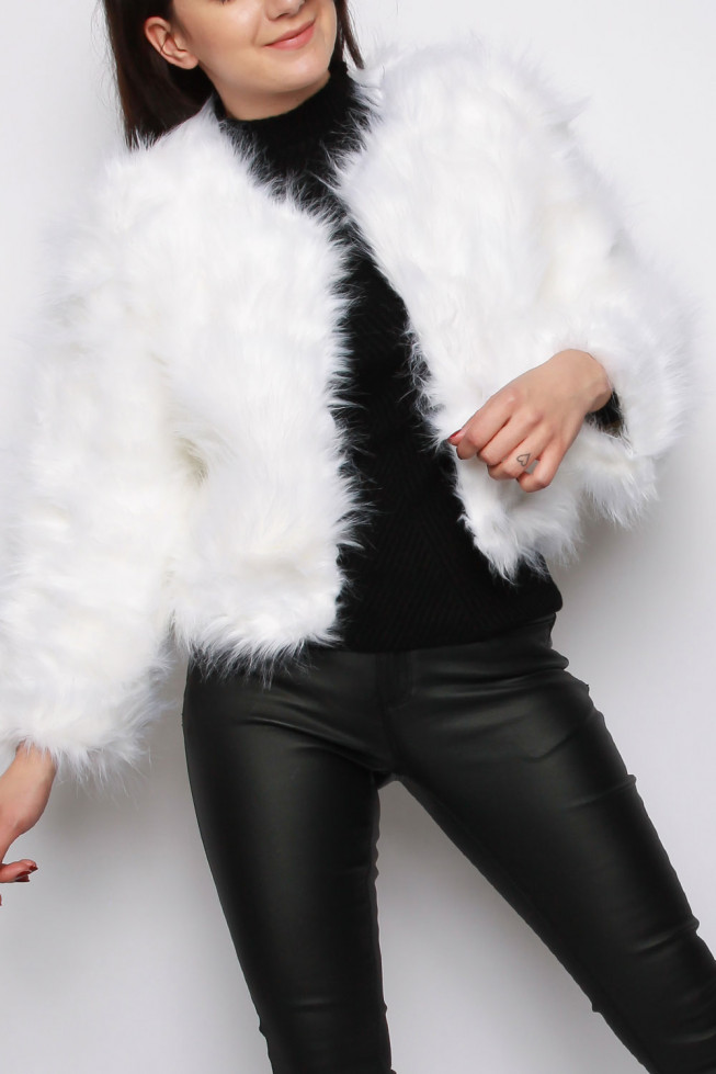 Faux Fur Collarless Cropped Jacket