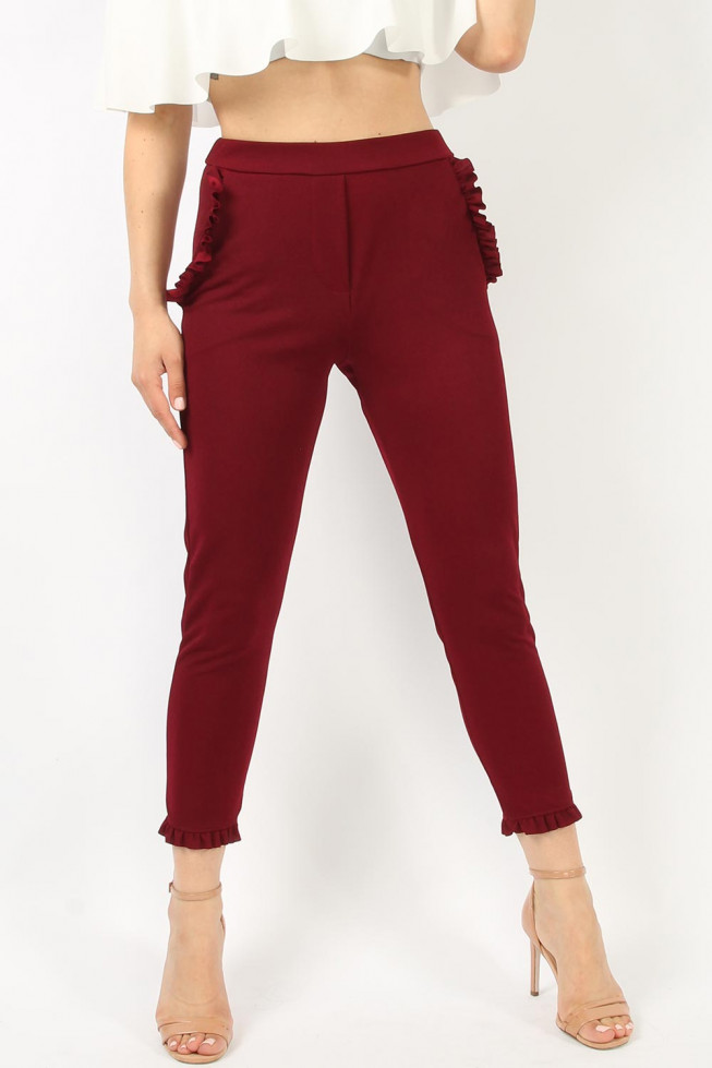 Fitted Frill Hem Trousers