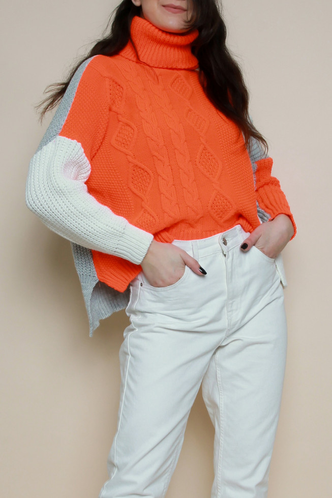 Roll Neck Colour Block Knitted Jumper