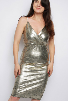 Metallic Cami Wrap Dress