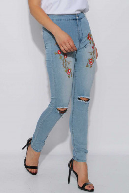 Embroidered Ripped Jeans