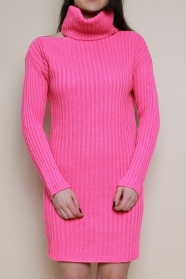 Neon Roll Neck Cut Out Knitted Jumper Dress