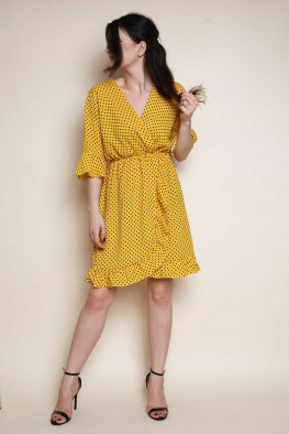 Polka Dot Wrap Skater Dress